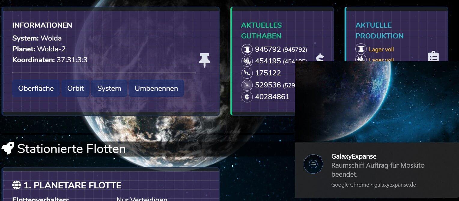 Notification des Browsergame GalaxyExpanse